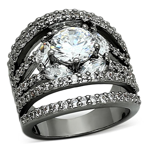 LOA895 Ruthenium Brass Ring with AAA Grade CZ