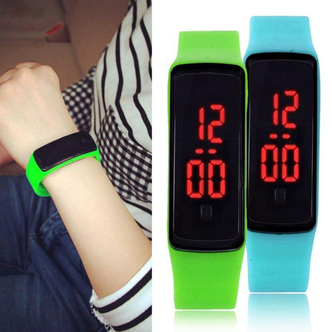 New brand LED l 14 color kids men and women sports silicone quartz watch