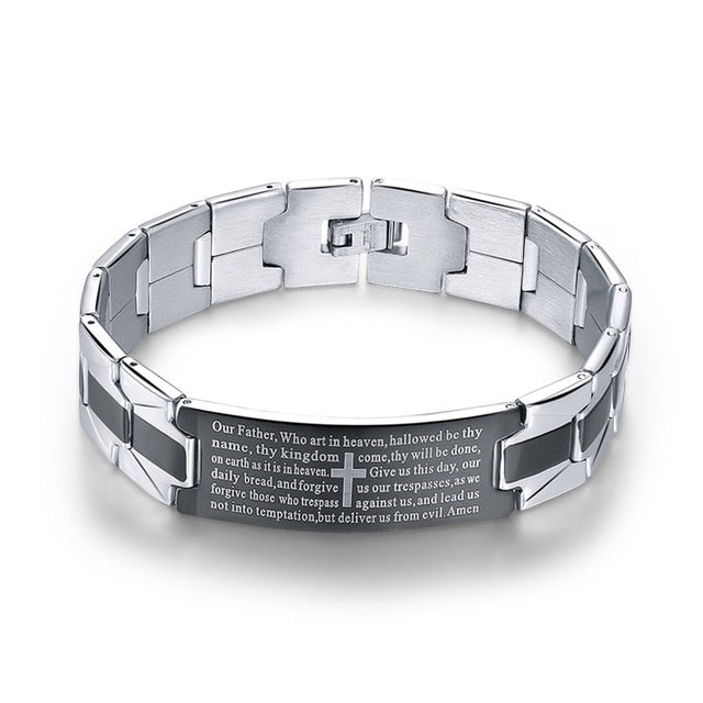 Christian Cross Sign Stainless Steel Link Chain Bangles