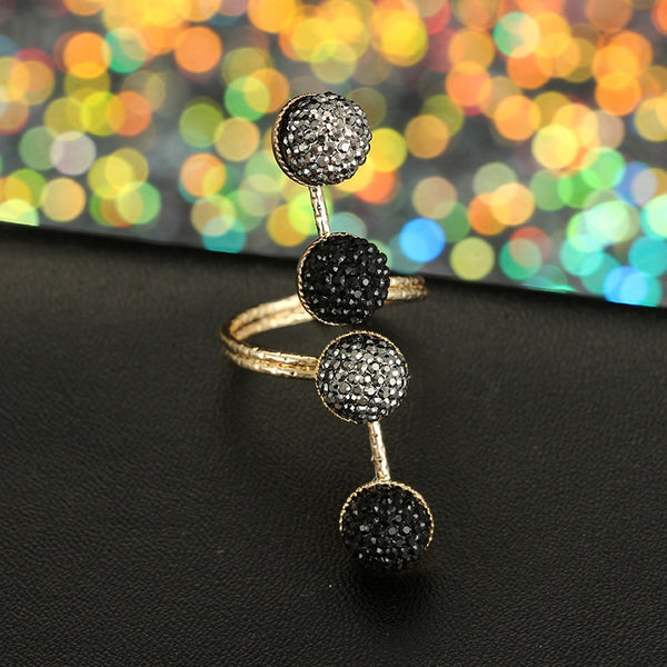 Vintage Antique Gold Black Rhinestone Opening Knuckle Finger Midi Rings Set  Jewelry