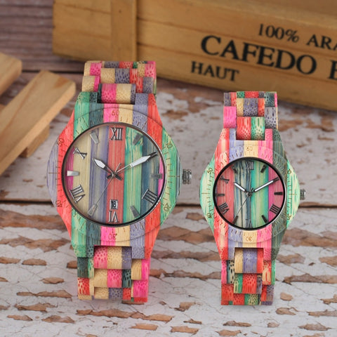 Colorful Handmade Full Wooden Bamboo Bracelet Wristwatches  Quartz Watch-  Analog