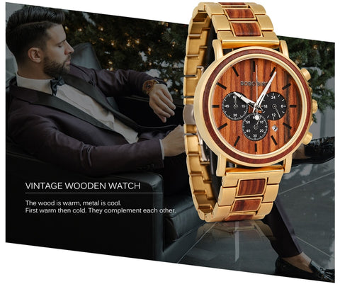BOBO BIRD Luxury Wooden Mens Watch  -  Chronograph Date Display Stop Watches