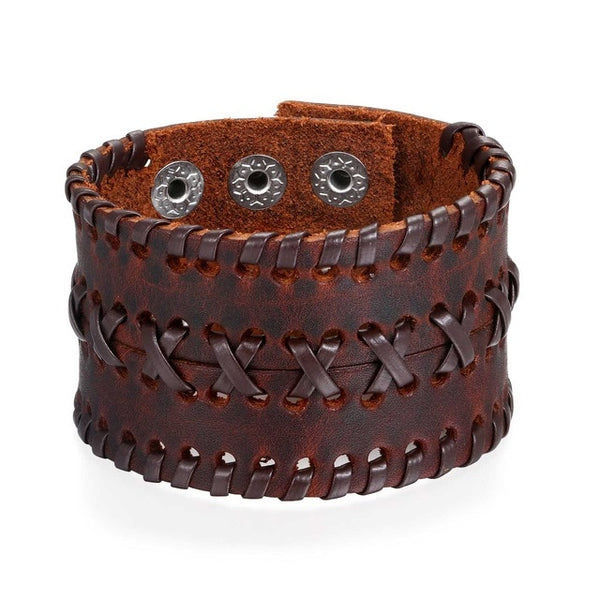Trendy Punk Rock Leather Bracelets with rope design -2 Colors Avail