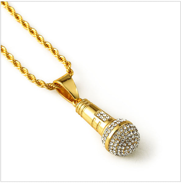 NYUK Pendant Necklace Gold Stereoscopic Music Microphone Pendants Statement Necklaces Crystal Vintage Fashion Jewelry Unisex