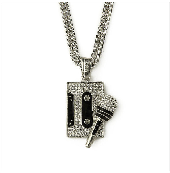 Necklaces & Pendants Microphone Tape Rhinestone Long Chain -Bling Crystal Pendant