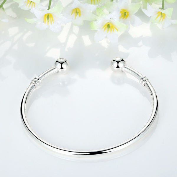 Silver European Charm Bead Bangle & Bracelet Fashion Jewelry For Women Men