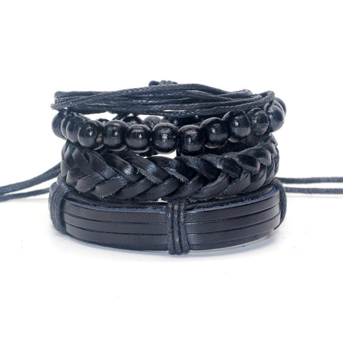 1 set 4 pcs Men Bracelet Casual Braided Genuine Leather Bracelet Multilayer Black
