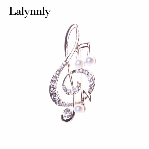 Fashionable Brooches For WomenMusical Rhinestone Imitation Pearl Brooch Pin Crystal Jewelry