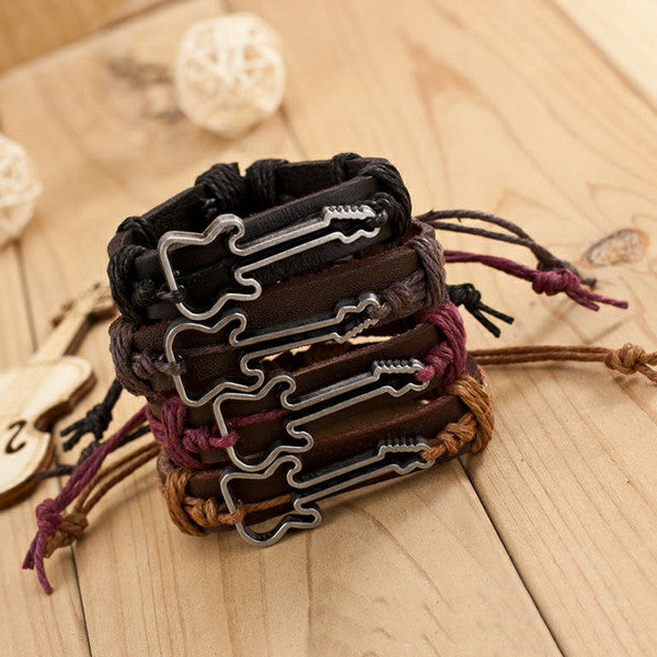 High Quality Cowhide Bracelet Jewelry Adjustable Bangles Waxed Cord Rock Style  Guitar Bracelets