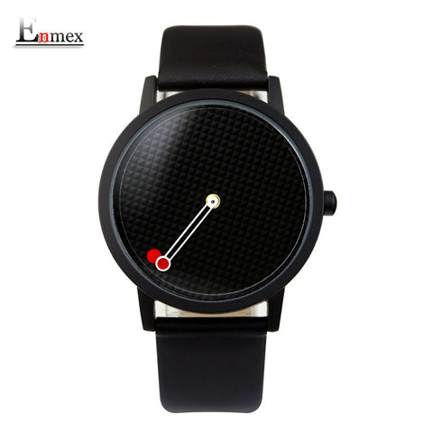 Enmex  design gentleman creative geometric designs Floating pointer 3D dial  quartz watches