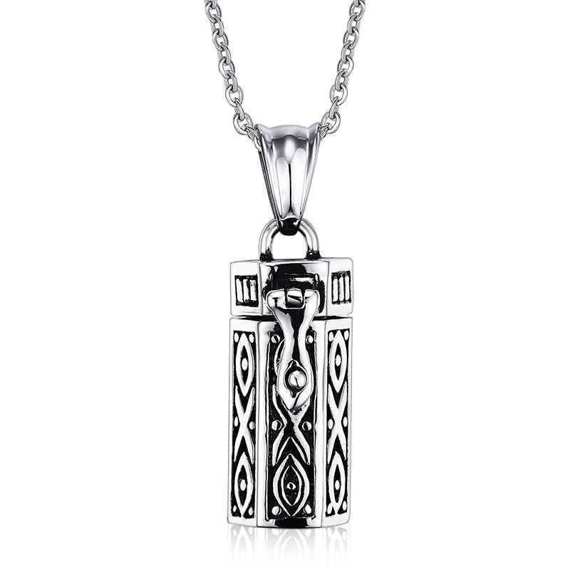 Men/Womens 20in Necklaces Stainless Steel Tubular Open Cremation Urn Jewelry Pendant
