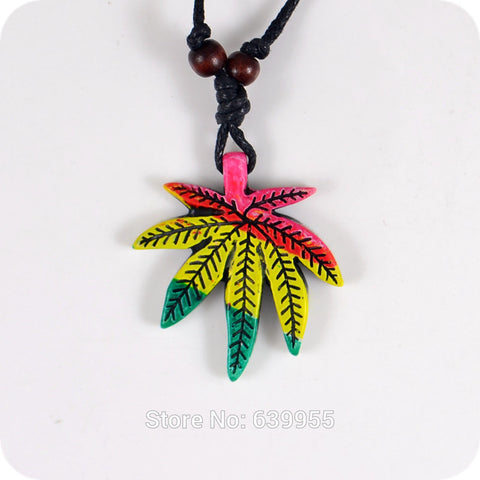 Red Yellow Green Cannabis leaf Resin Carving Pendant Necklaces/ Jamaican Rastafarian Reggae Amulet