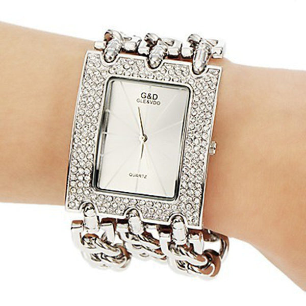 Classic Luxury Gold Plated Steel Quartz Dress Watches For Women Fashion