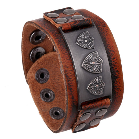 European Vintage design- wide cuff 100% Cowhide Leather bracelet