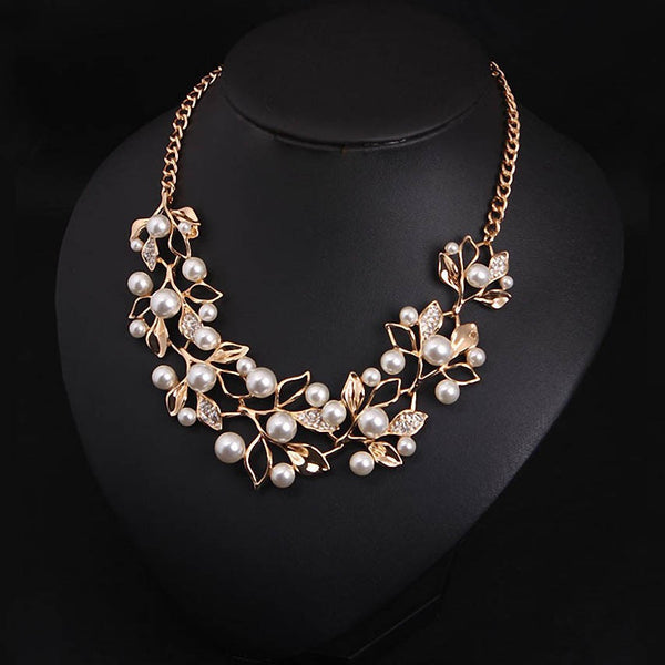 Simulated Pearl Necklaces &  Leaves Pendants Statement Necklace- Women