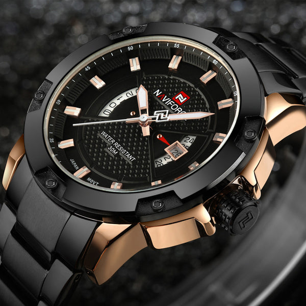 Top Luxury Brand NAVIFORCE Men Full Steel Watches Men's Quartz Analog Watch