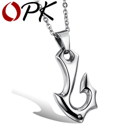Fishhook Design Necklace  Stainless Full Steel Pendant