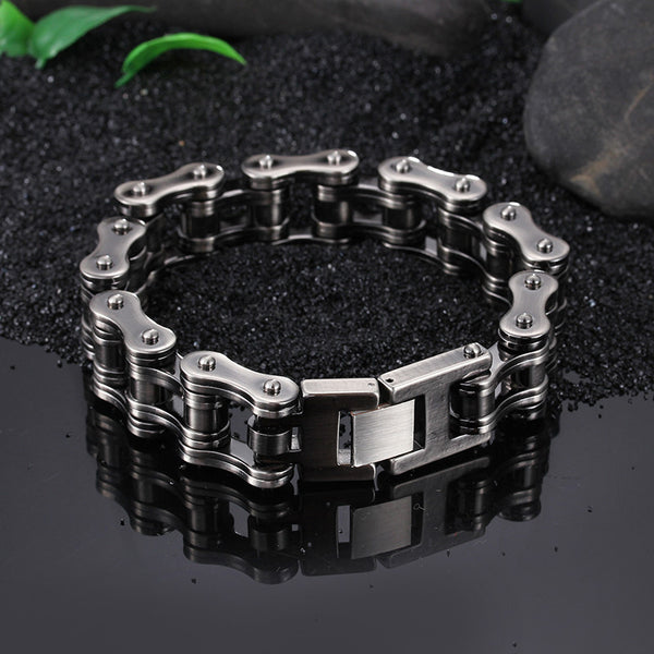TrustyLan 16MM Wide Heavy Solid Stainless Steel Bike Bracelet Men - Punk Rock Jewelry