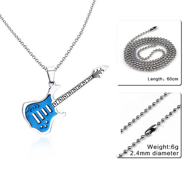 Trendy Guitar Necklace Pendant  24inch Chain Stainless Steel Punk Rock Music Jewelry