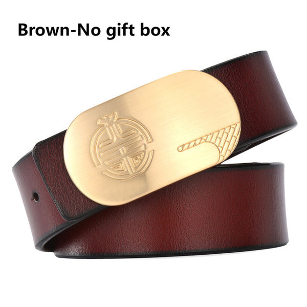 DESTINY men luxury belts smooth copper buckle belt high quality Leather  mens casual