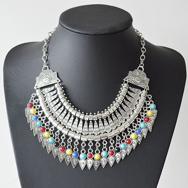 Bohemian/Turkish Fringe Tassel Collar Statement Vintage Chunky Pendant Necklace