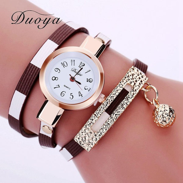 Womens Luxury Gold  Bracelet Quartz Dress Leather Vintage Fashion Wristwatch