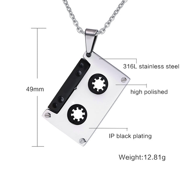 Cassette necklace Pendants Stainless Steel Music Jewelry for Men/Women