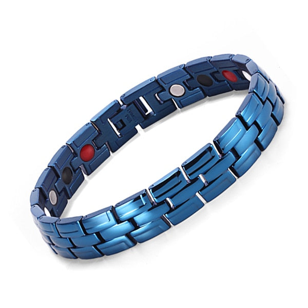 Healing Magnetic Bracelet Men/Woman 316L Stainless Steel 3 Health Care Elements(Magnetic,FIR,Germanium)