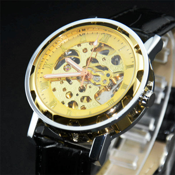 Mechanical Skeleton Black Leather Wrist Silver Automatic Men's Watch Wristwatch  New Classic