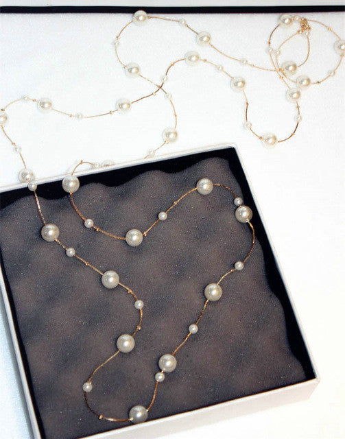 Classic double layers simulated pearl long necklace women jewelry gift