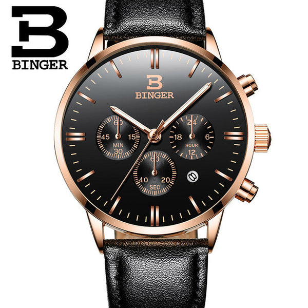 Switzerland BINGER Watches Chronograph Men Watches  Luxury