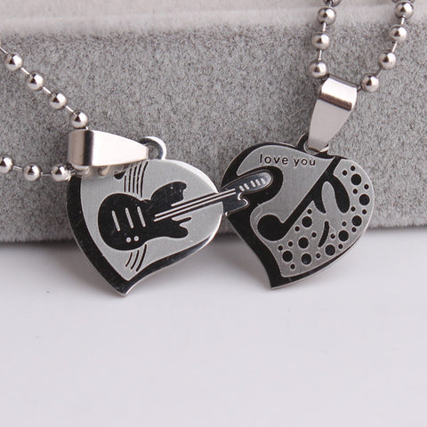 Double heart Guitar music 316L Stainless Steel pendant necklaces for  women