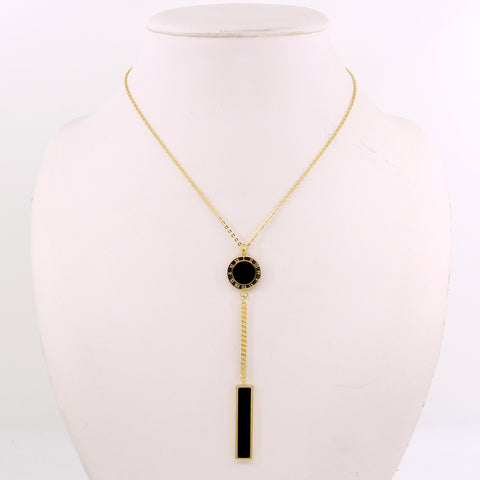 European Long Geometric Pendant Necklace Gold Color Stainless Steel necklace