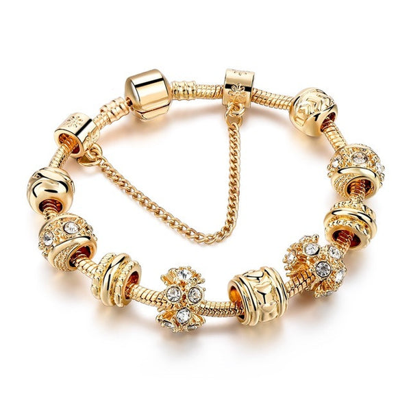 Heart Charm Bracelets For Women Gold Chain Bead