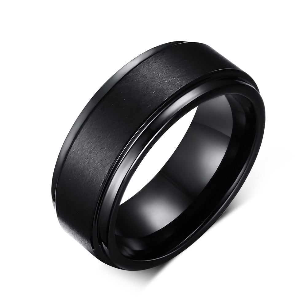 Quality Tungsten Ring Vintage Black Ring 8mm Fashion  Band Ring for Men