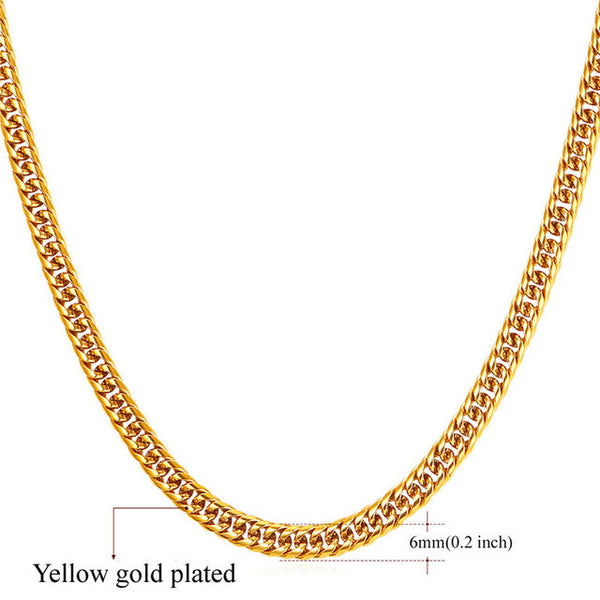 Chains For Men/ Yellow Gold Color Thick Stainless Steel Long Big Chunky Necklace