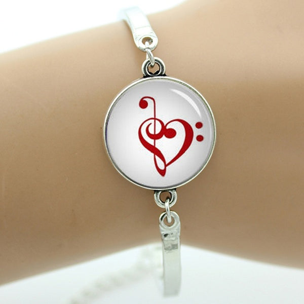 Vintage musical note bracelet charm- fancy music heart musician jewelry