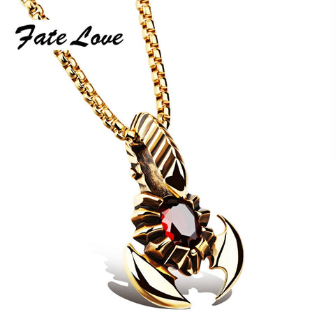 Scorpion Pendant Necklace  Gold Color Stainless Steel Red CZ Stone