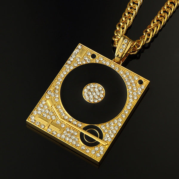 DJ Phonograph Big Pendant Necklace Men Jewelry Hiphop Chain Gold Silver Color