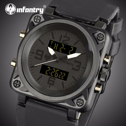 INFANTRY Men Luxury Square Face Chronograph Aviator Military Quartz Watch