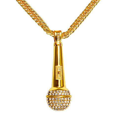Men Necklace Music Microphone Pendant Hip Hop Jewelry Gold Silver Color Rock Hiphop Chain DJ Rap Necklaces Mens Jewellery