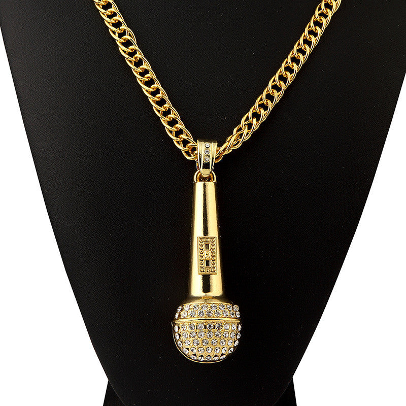 4dd8bd762ca24 Men Necklace Music Microphone Pendant Hip Hop Jewelry Gold Silver Color  Rock Hiphop Chain DJ Rap Necklaces Mens Jewellery