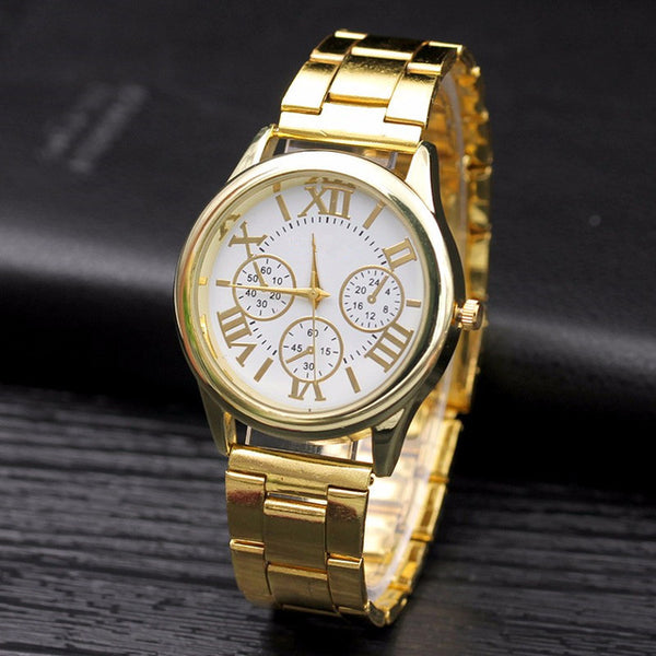Geneva Casual Womens Roman Numerals Quartz watch-  stainless steel Dress Watches