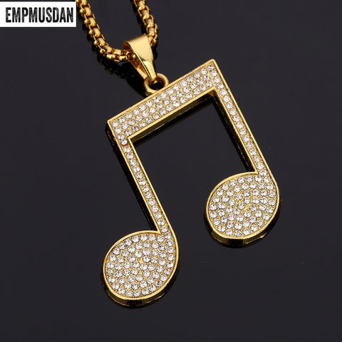 Music Pendants Crystal Pendant Rock DJ Hip Hop Jewelry
