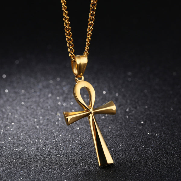 Cross Pendant Men 's Stainless Steel   Necklace- Steel / Black / Gold Color -Smooth Design