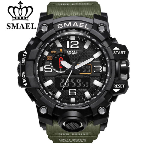 SMAEL Brand Men Sports Watches Dual Display Analog Digital LED Electronic Quartz Wristwatches