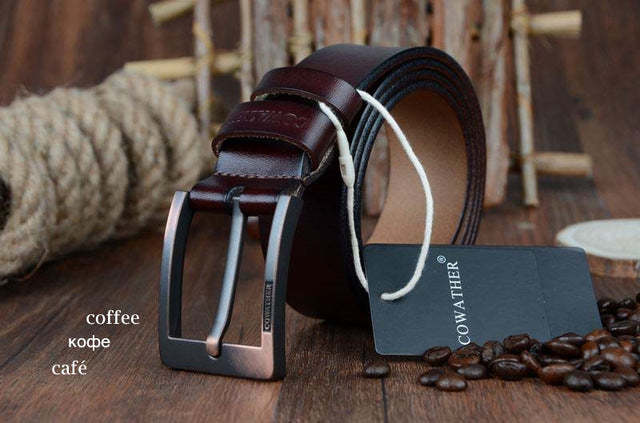 COWATHER belts for men high quality cowskin genuine leather vintage New pin buckle