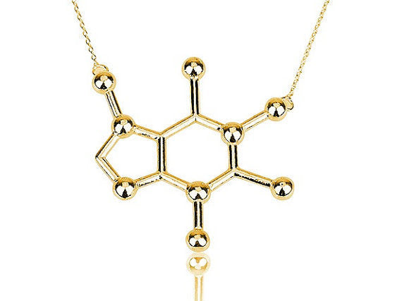 Jisensp New Caffeine Molecule Necklace Structure Women