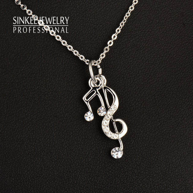 Trendy Music Notes Pendant Women Necklace Chain