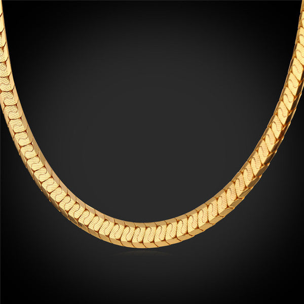 U7 Gold Color Scale Link Chain Men Jewelry Trendy  Nugget Men Necklace